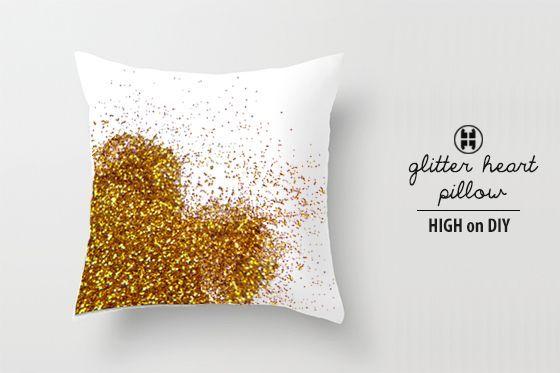 make your own glitter heart pillow via High on DIY