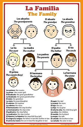 Spanish Language School Poster - Words About Family Members - Wall Chart for Home and Classroom - Bilingual: Spanish and English Text http://www.amazon.com/dp/B00NLS4BLM/
