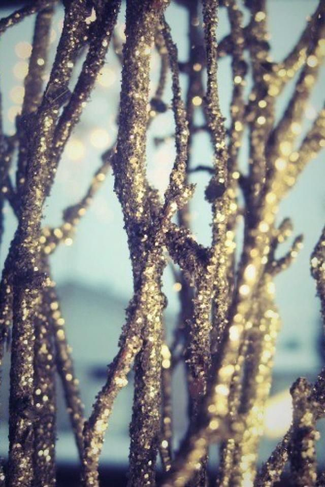 Gold Glitter Branches