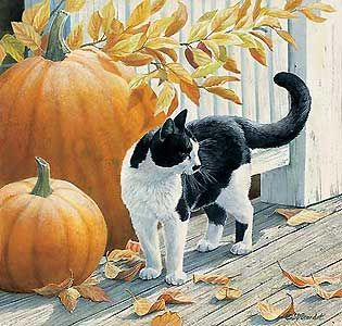 Cat and Pumpkins - Original - Susan Bourdet - World-Wide-Art.com