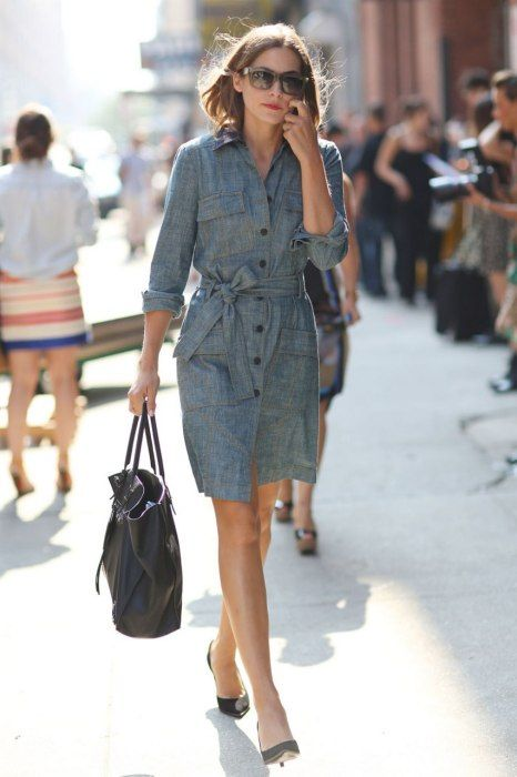 (great shirt dress, like the belt slid to the side) Best-Dressed Street Style at New York's Fashion Week | Vanity Fair