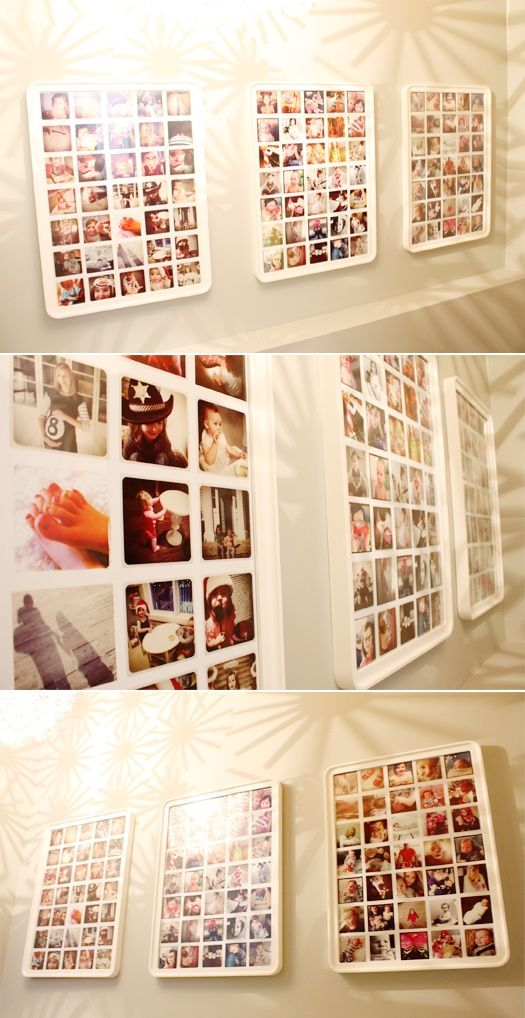 I love this - print out your Instagram photos and frame them.. the website says the frame is from IKEA.