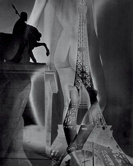 Maurice Tabard, La torre Eiffel y un desnudo, 1947