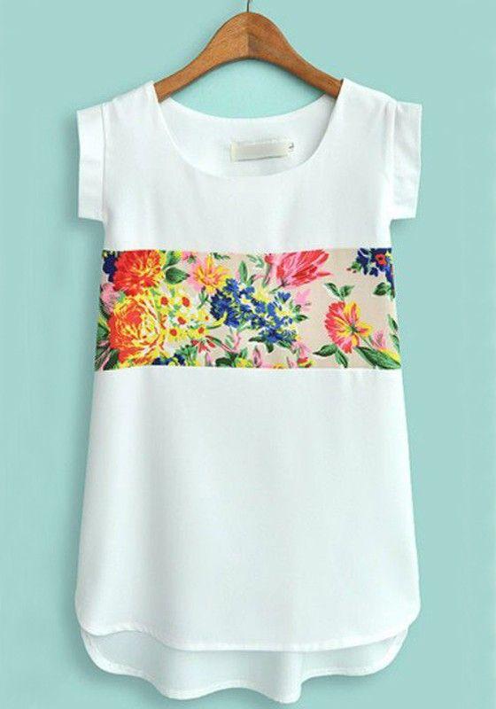 White Flower Print Short Sleeve Chiffon Blouse
