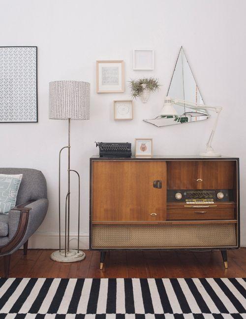 Vintage retro furniture and salon style wall art. retro sidobord