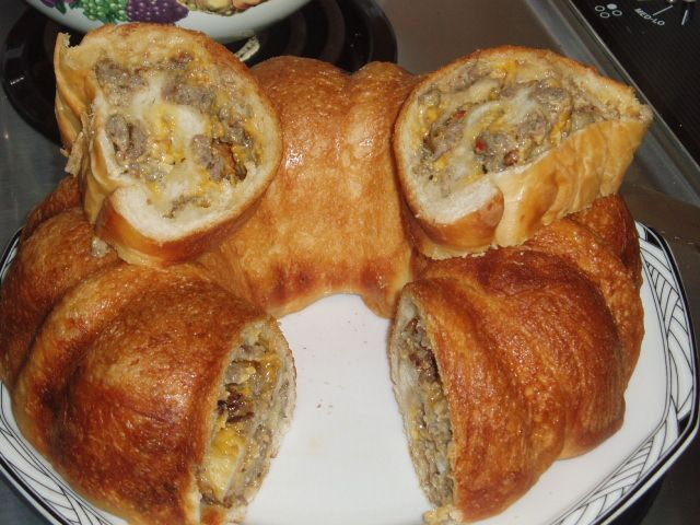 Sausage and Cheese Bread Roll in bundt pan