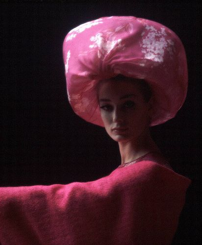 Pink chiffon lantern hat by Pierre Cardin 1962.