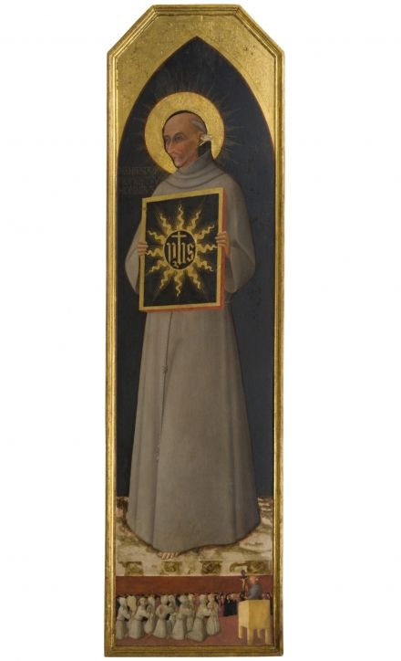 Stefano di Giovanni , known as « Il Sassetta »,  Saint Bernardino from Siena,  1444,  Inv. 205,  tempera on board,  177.5 x 52.8 cm,  Siena, Pinacoteca Nazionale.