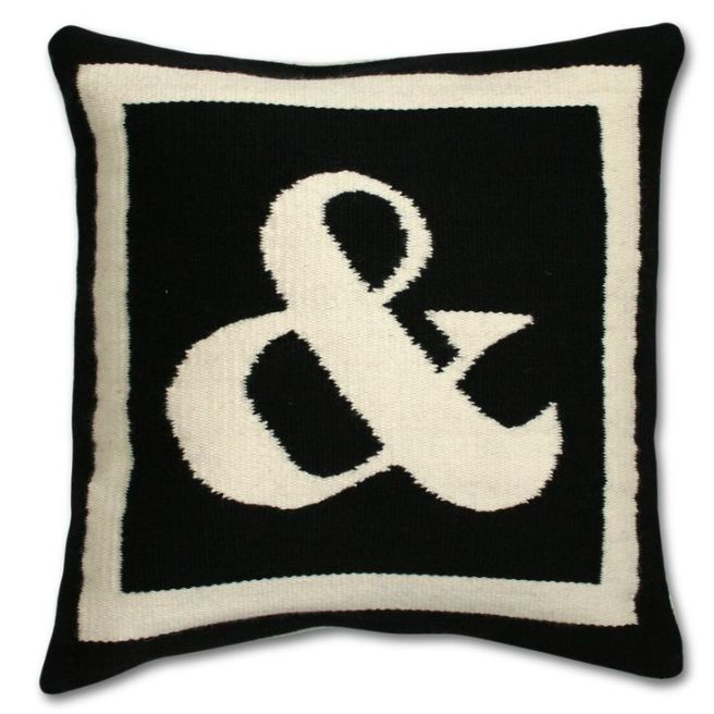#Modern #Throw #Pillows | Reversible Woven Wool Letter Throw Pillow | $125