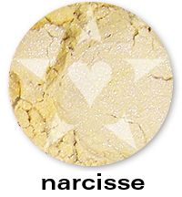 NARCISSE is a soft yellow pearl frost with sparks of baby blue., from the BLOOM Mineral Eyeshadow collection. This collection is is inspired by the best-selling, delicate and sparkling shades of Aromaleigh v1... think of them as wonderfully wearable, go-to shades with an added dose of sparkle.     http://www.aromaleigh.com/newbsospmiey.html