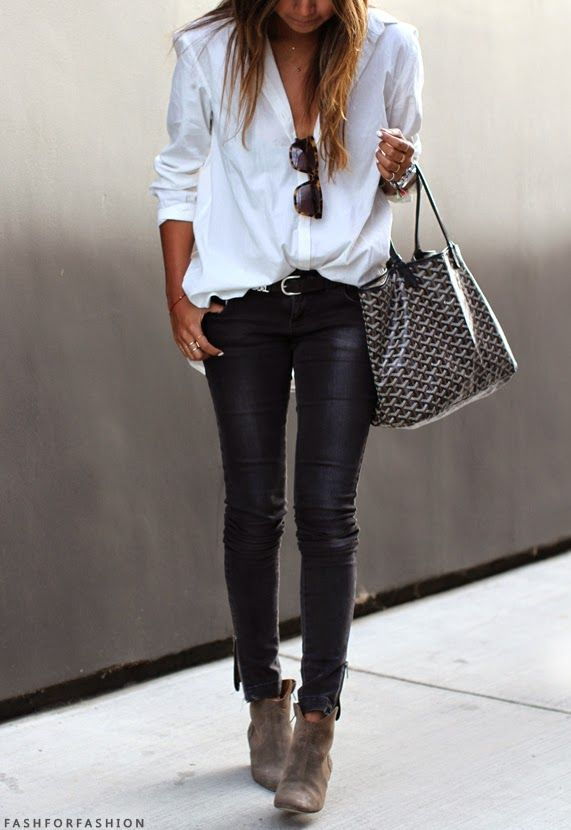 Black denim trousers with white shirt for a casual chic look