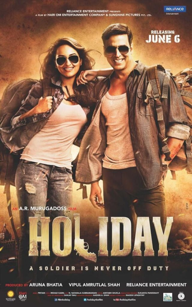 'Holiday - A Soldier Is Never Off Duty' poster feat. Akshay Kumar & Sonakshi Sinha