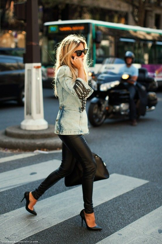 Leather, denim & heels. Love the leather and the jacket