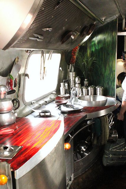 Gypsy Living Traveling In Style| Serafini Amelia| Design Your Life-Beautiful Interior Design | Air stream kitchen Maker Faire 2011 Scout Magazine |