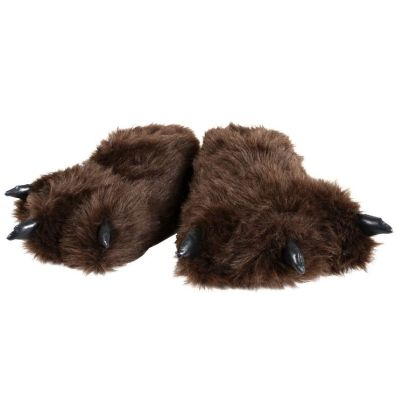 "MENS SLIPPERS - Cosy Bear Feet ""Hibernation Wear"" Fluffy Novelty Mens Slippers: Amazon.co.uk: Shoes & Bags"