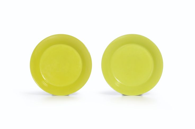 A fine pair of lemon-yellow dishes, Marks and Period of Yongzheng