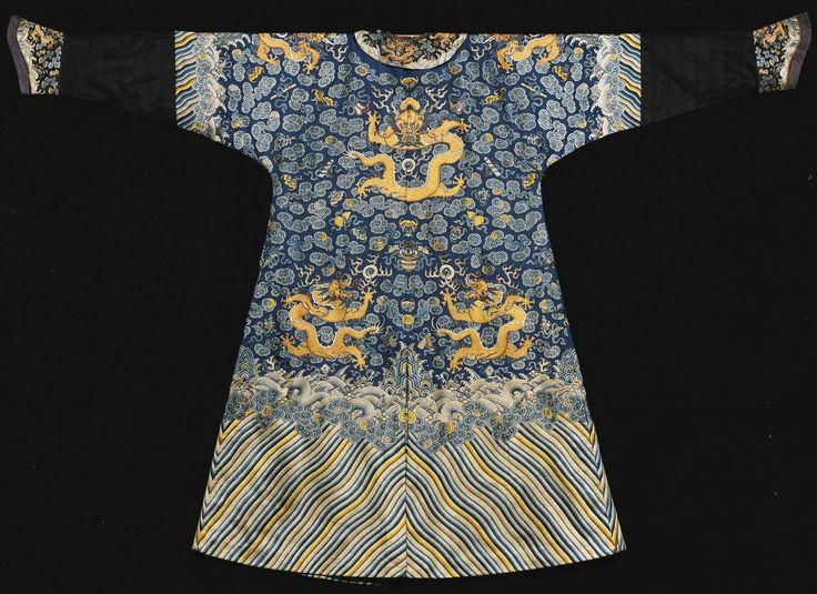 A BLUE EMBROIDERED SEMI-FORMAL DRAGON ROBE (JIFU)<br>QING DYNASTY, JIAQING PERIOD | Lot | Sotheby's