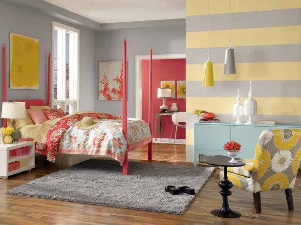 yellow and gray striped bedroom