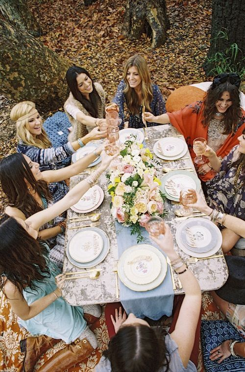 outside dinner with all the girls