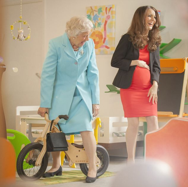 Granny Tested: The Queen tests a baby bike as Kate gets the giggles.