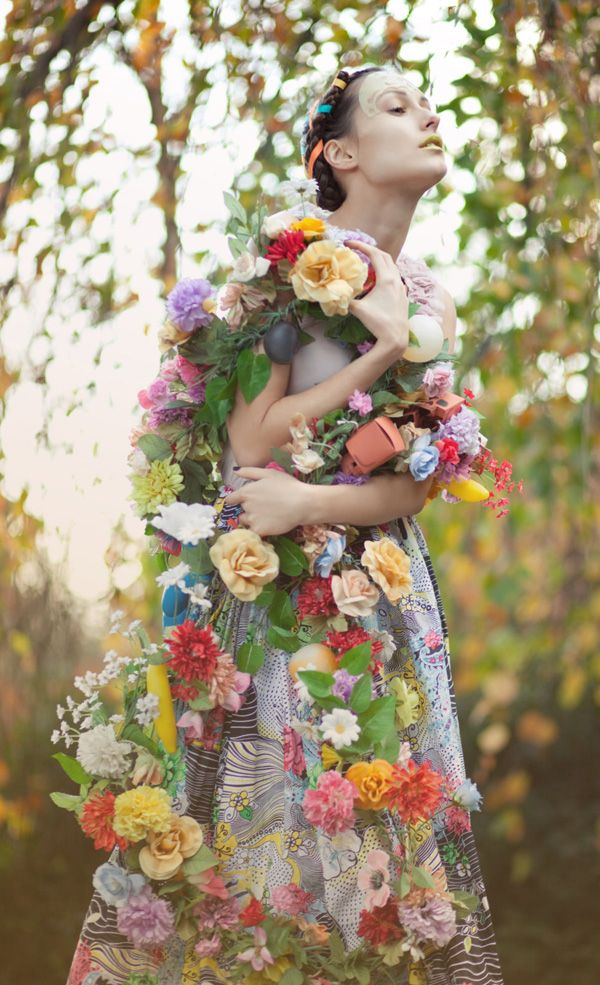 carregada de flores