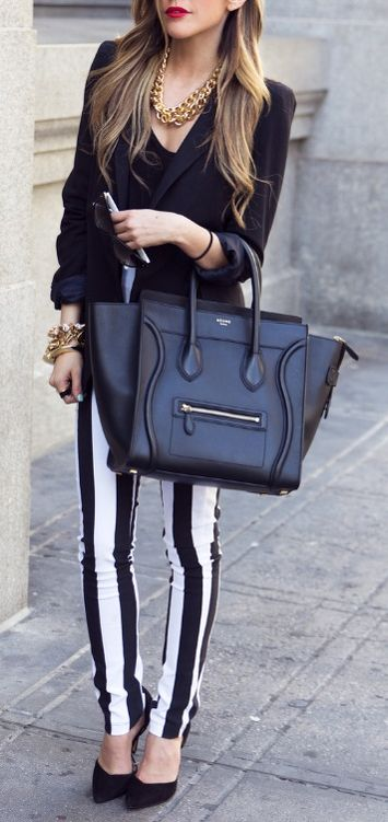 You can pull of black and white in the spring, spice it up with some stripes.
