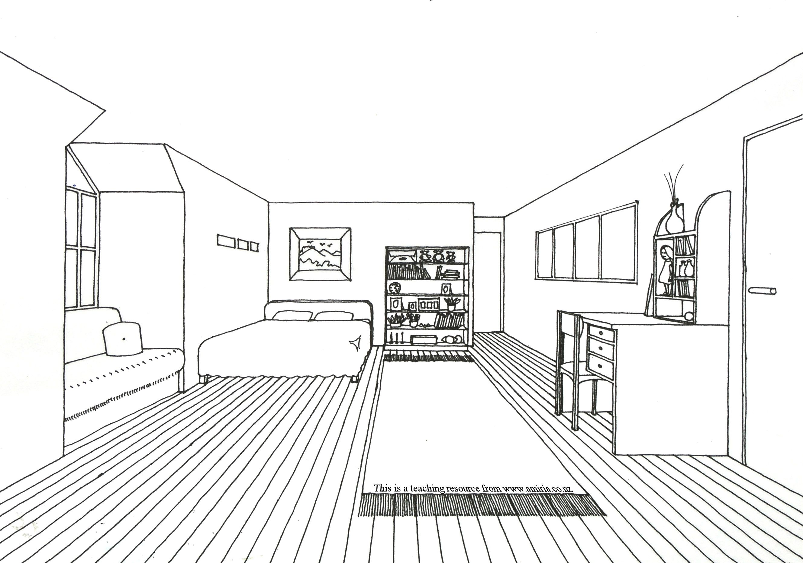 An Age Old Teaching Exercise The One Point Perspective Drawing Of A Room Never Fails To Engage