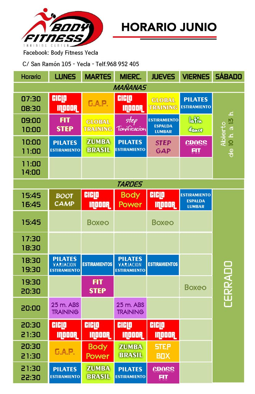 body fitness en yecla ofertas calendario de actividades de junio 2013