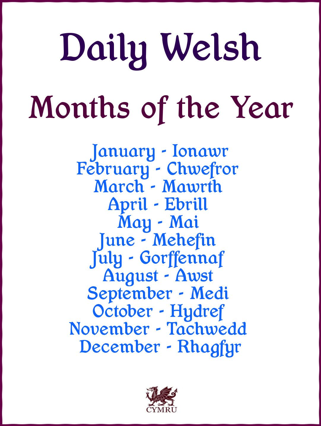 Daily Welsh Months Of The Year