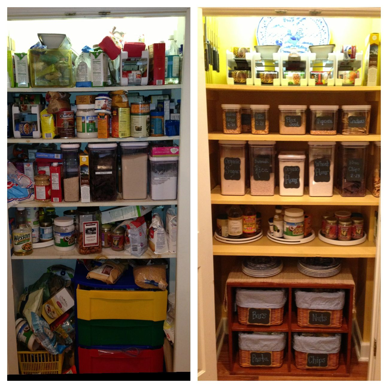 before and after pantry redo pantry organization pinterest on kitchen organization no pantry id=97691
