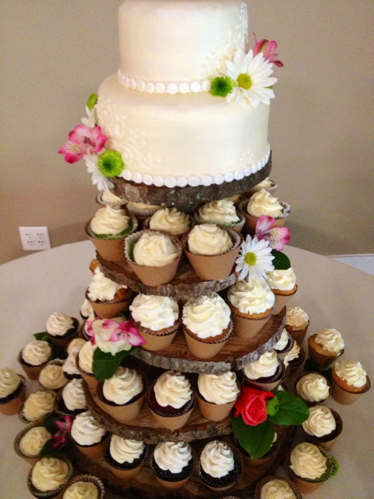 Rustic Wedding Cupcake Cake