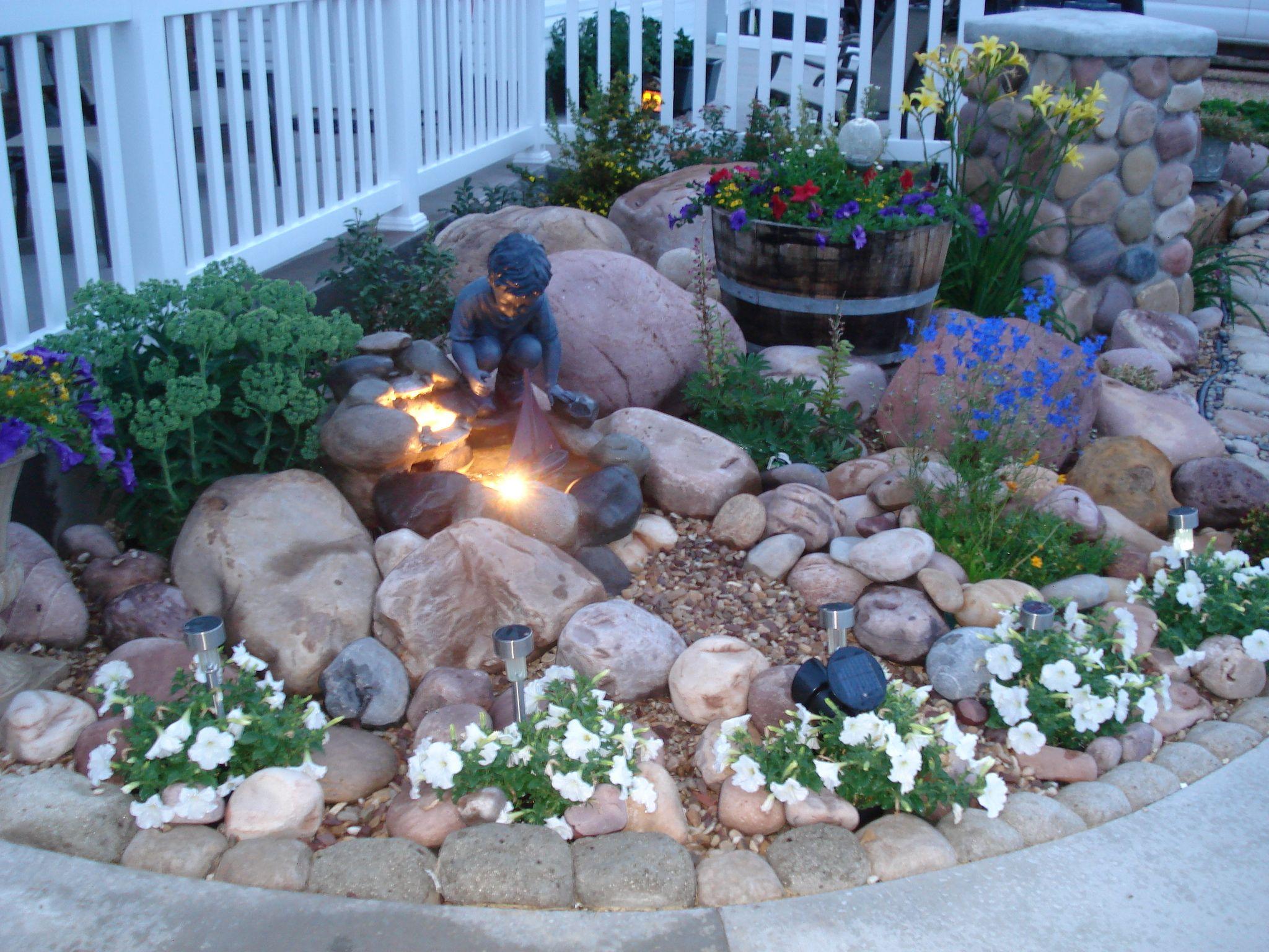 Rock garden with small fountain. | Outside Ideas | Pinterest on Rock Garden Waterfall Ideas  id=79951