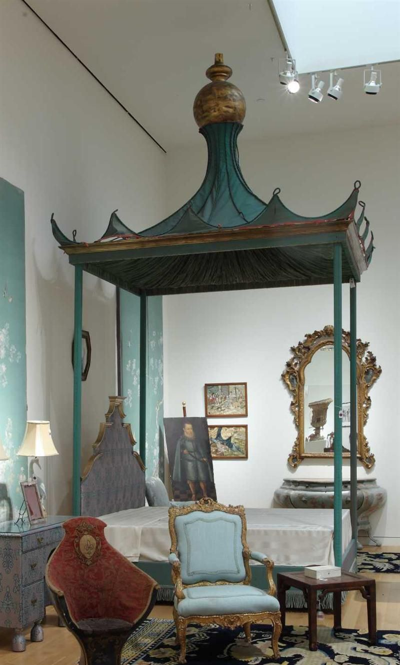 Asian style four poster bed