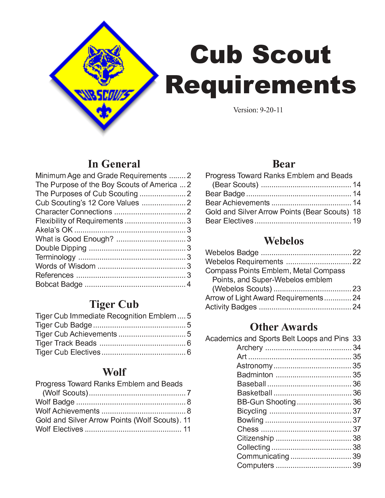 Cub Scout Requirements