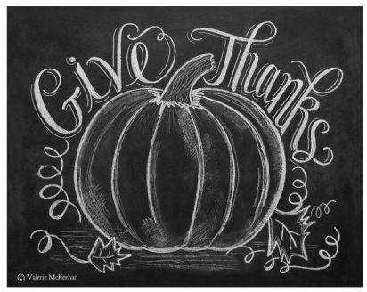 "Chalk Pumpkin Sketch with words, ""Give Thanks"""