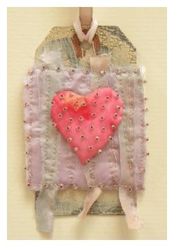 fabric art heart tag