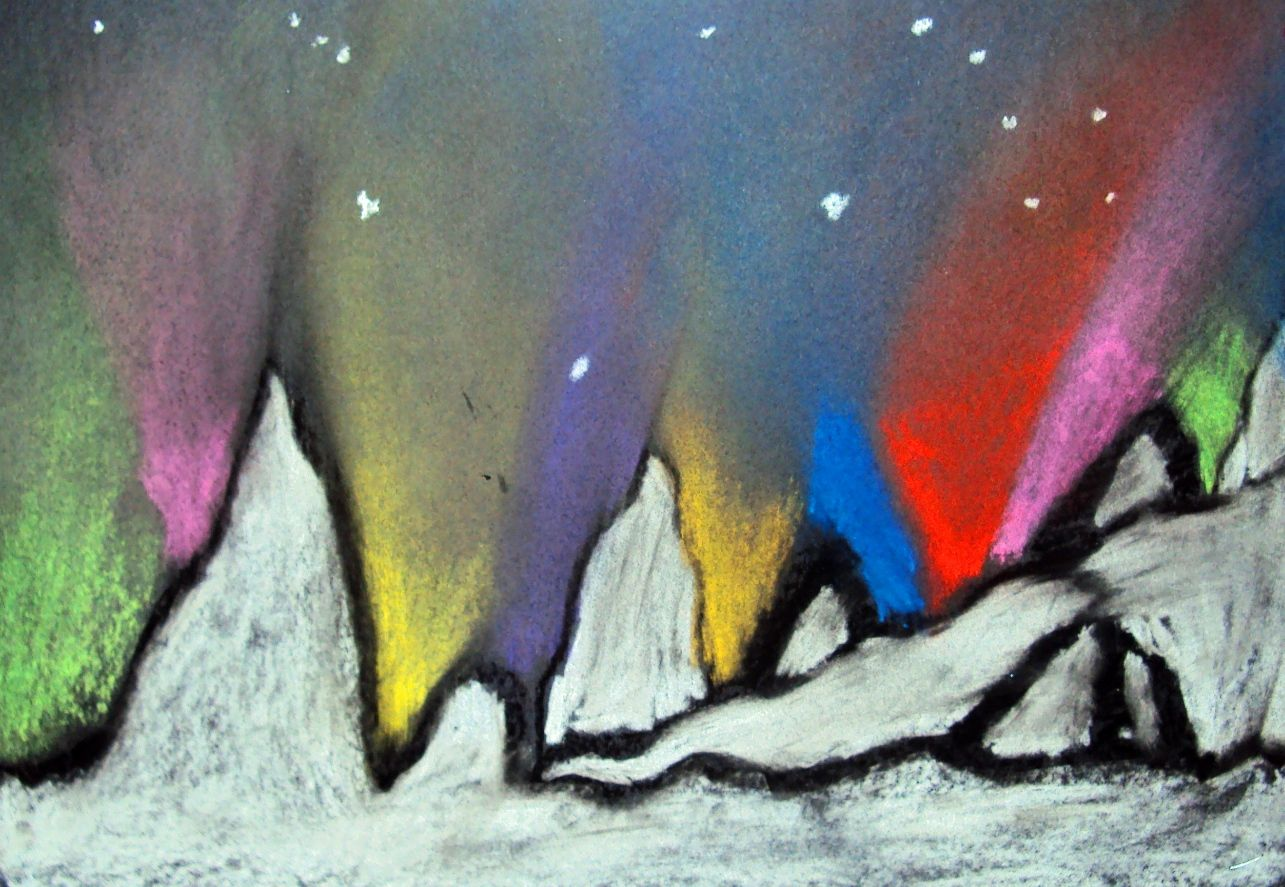Chalk Pastel Northern Lights