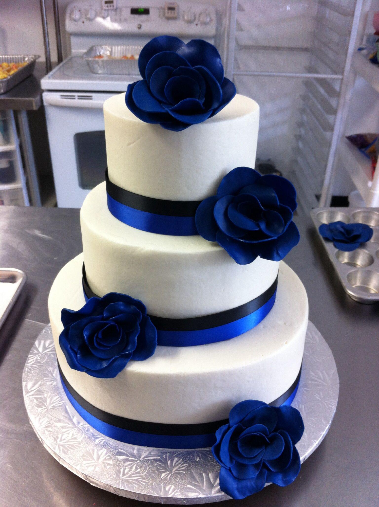 Royal Blue Amp Black Wedding Cake