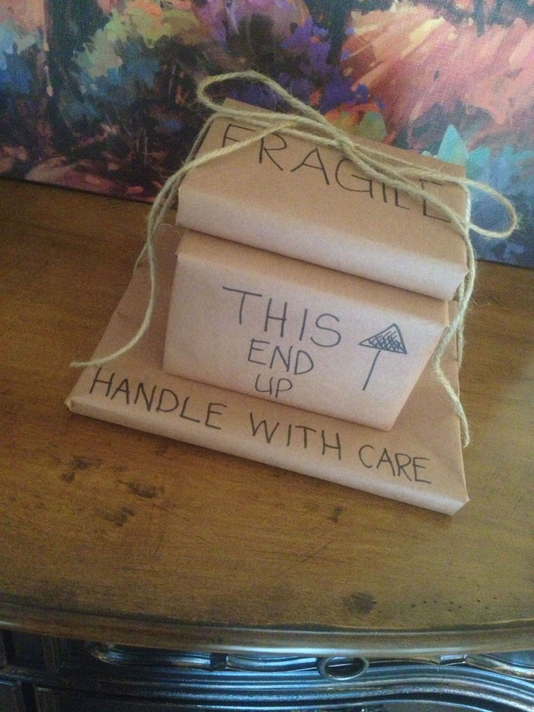 Cute way to wrap a moving away gift best friends