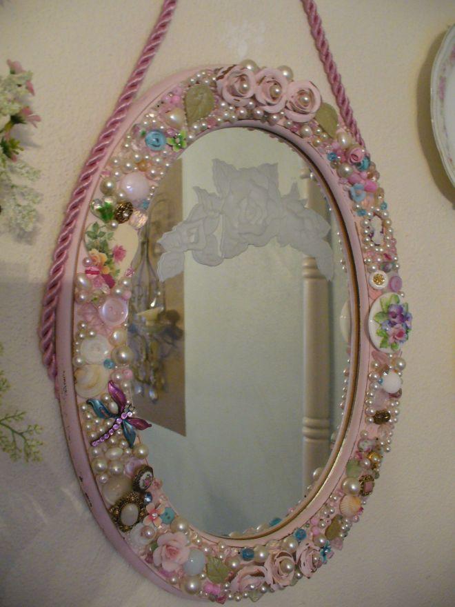 Jeweled oval mirror craft ideas pinterest