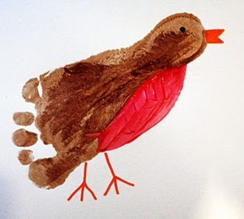 """B    Bird:  Robin footprint craft!  For those with 'little ones"""""""