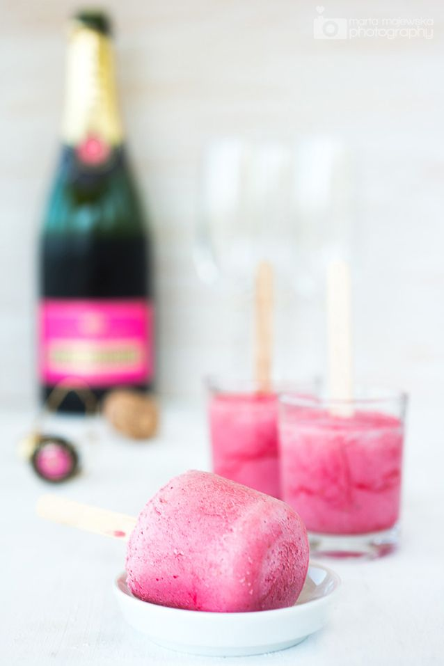 champagne + raspberry popsicles