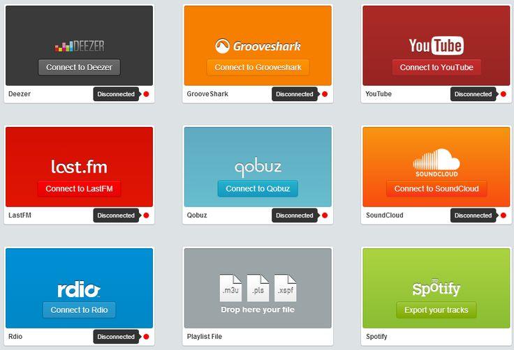 Soundiiz, playlists em nuvem, tela reúne os sites de músicas