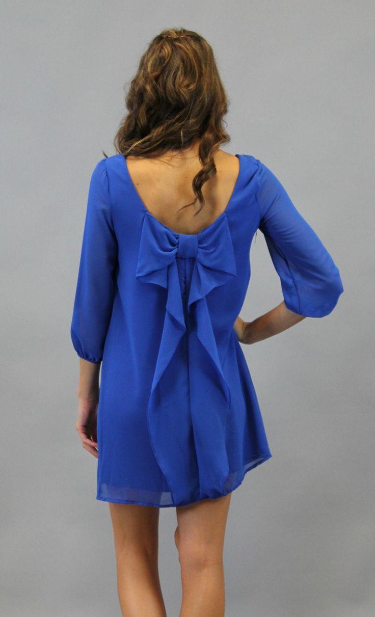 Bow Back Shift Dress – Blue | A Cut Above Boutique, Inc.