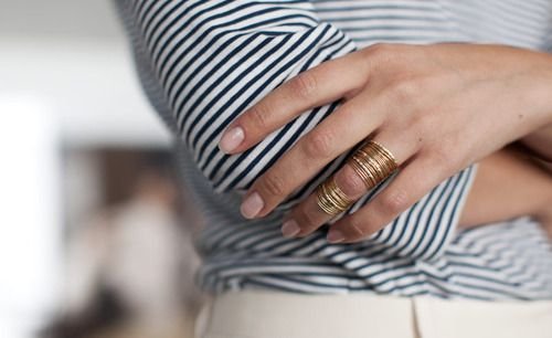love the combo of stripes + stacked rings