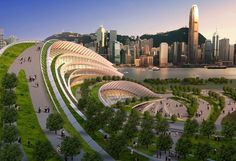 From Treehugger: Express Rail Link - West Kowloon Terminus by Aedas will connect Hong Kong to the National High Speed Rail Network. The terminal's roof is a series of ribbons that meet ground level, turning the building into a big walkable (climbable?) hill.
