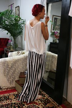 Travel Light Lounge Pajama Black and White Stripe Silk Knit Wide Trouser Low Rise Honeymoon Dream Sleepwear Lingerie auf Etsy, 90,44€