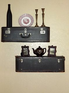 Dark Grey Vintage Suitcase Shelves | Vintage Inspired Home Decor | Wall Hangings | Wall Decor
