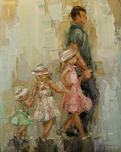 """Daddy's Girls II""  Oil painting of children with father by Kathryn Morris Trotter"