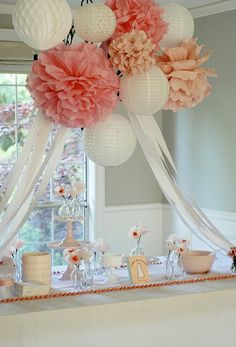 Beautiful, want to throw a party to have these decorations: chandelier with pom poms, lanterns & crepe paper
